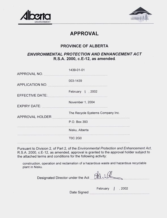 Environmental Protection and Enhancement Act Approval