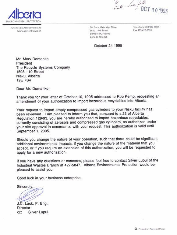 Amendment to Import of waste Aerosols